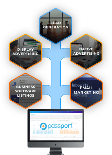 Passport integrates all your display advertising, lead generation, native advertising, email marketing and business software listing campaigns.